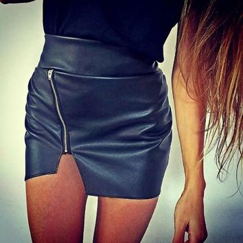 Black Plain Zipper Elastic Waist Fashion PU Leather Skirt