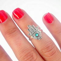 Turquoise Hamsa Above The Knuckle Ring - Silver Hamsa Knuckle Rings - by Tiny Box