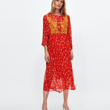 DRESS WITH EMBROIDERED BIB FRONT DETAILS