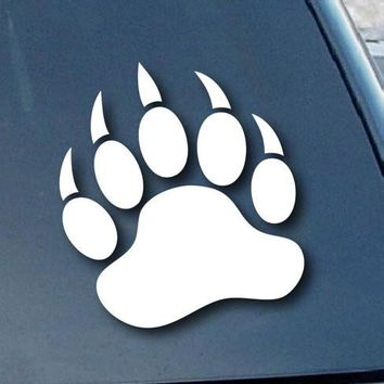 Grizzly Bear Paw Print Adhesive Decal Sticker Vinyl Decorative for Wall Car Auto Ipad Macbook Laptop