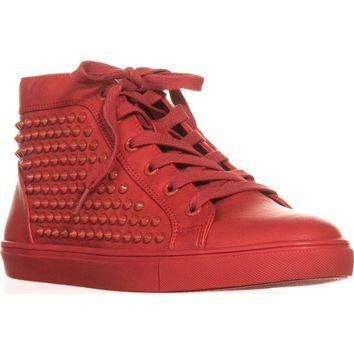 Steve Madden Levels High Top Fashion Sneakers, Red Studs, 7.5 US