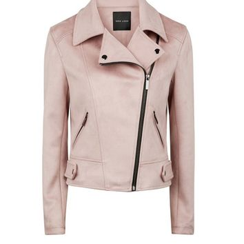 Pale Pink Suedette Biker Jacket | New Look