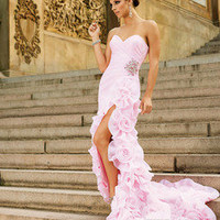 New Pink Mermaid Party Prom Evening Gown Pageant Dresses Bridal Gowns Custom