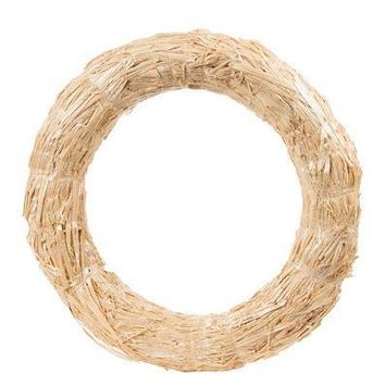 "Natural Straw Wreath Fall Decoration - 16"" Wide"