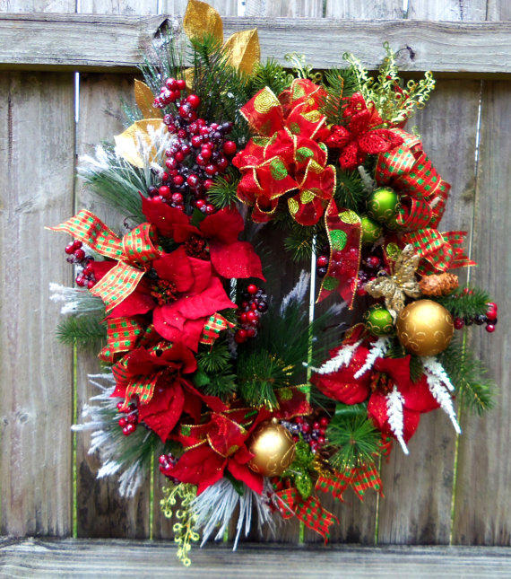 Christmas wreath front door poinsettia from 3mimis wreath for 5ft poinsettia garland christmas decoration