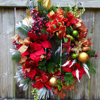 Christmas Pinecone Berries Red Green Gold Wreath Floral Design