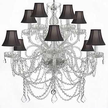 Murano Venetian Style All-Crystal Chandelier With Black Shades! - A46-Blackshades/Silver/4/385/6+6
