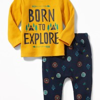 2-Piece Graphic Thermal Tee and Patterned Leggings Set for Baby | Old Navy