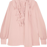 Alexander McQueen - Pussy-bow ruffled silk-georgette blouse