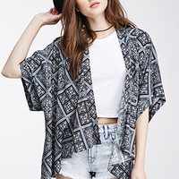 Square Print Woven Cardigan