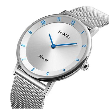 SKMEI Mens Watch, Ultra Thin Design, Stainless Steel, Mesh Strap