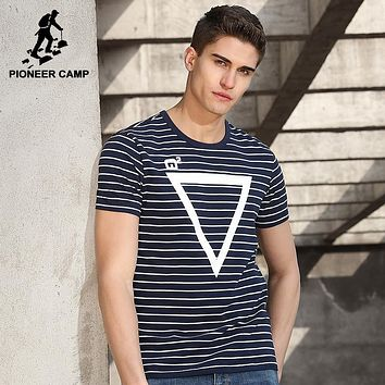 New design striped T shirt men clothing fashion geometry pattern T-shirt male quality striped Tees
