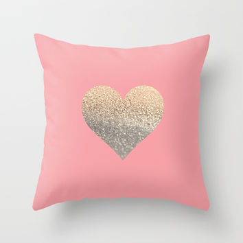 GOLD HEART CORAL Throw Pillow by Monika Strigel
