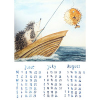 Summer calendar hedgehogs fishing june, july, august 2015, cute illustration, children art