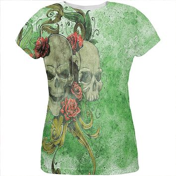 St. Patricks Day Deadly Wild Irish Rose Skull Tattoo All Over Womens T Shirt