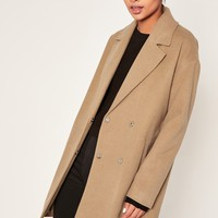 Missguided - Camel Drop Shoulder Double Breasted Faux Wool Coat