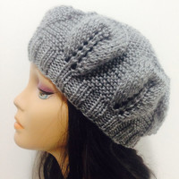 Gray hat ,womens accessory,Hand Made Knit,Slouchy Beanie,Slouch Hats Oversized