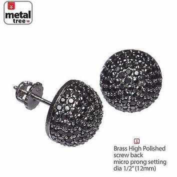 Jewelry Kay style Men's Women's Berry Round Dome Earrings  Black CZ Hand Setting Screw Back 945 3T