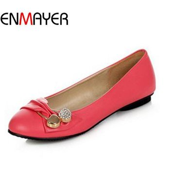 ENMAYER Women's Fashion Shoes Woman Flats Spring Shoes Large Size 4-14 Female Ballet S