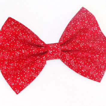 Vintage Inspired Red with White Small Flowers Hair Bow Clip Rockabilly Pin up Teen Woman