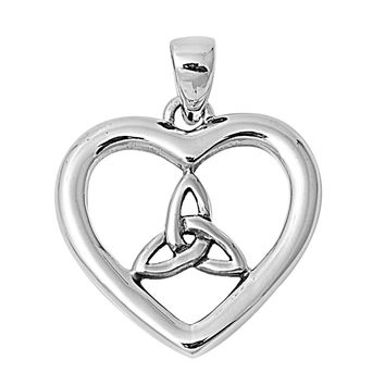 """Sterling Silver Pagan Divine Will Heart Pendant 19MM (Free 18"""" Chain)"""