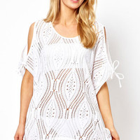 White Crochet Beachwear with Ties and Cut-Out Detail