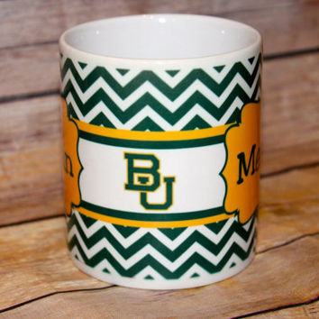 Chevron Baylor Bears 11oz ceramic coffee mug with initials/name