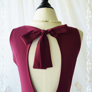 Alice In Wonderland II - Beautiful Maroon Dress Cut Off Back Summer Sundress Party Prom Dress Bridesmaid Dress Maroon Party Dresses XS-XL