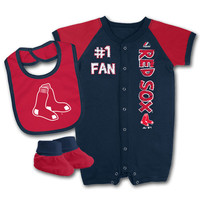 Boston Red Sox Baby Romper, Bib and Bootie Set
