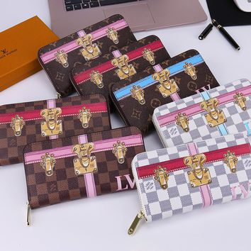Copy of Louis Vuitton Fashion Print Lock Buckle LV Women Men Wallet Zipper B-OM-NBPF Full Color
