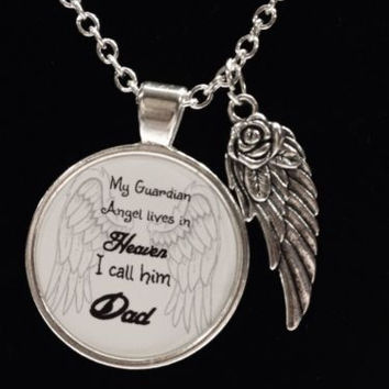 Guardian Angel Dad In Heaven Wing Remembrance Day In Memory Necklace