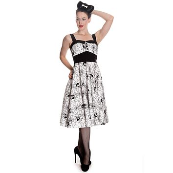 Hell Bunny Rockabilly Gothic Spooky Black Widow & Spiderweb Dress