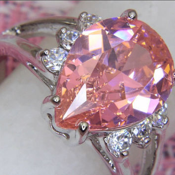 Pear Pink Sapphire Topaz Ring with Cubic by OriginalGemEnvy