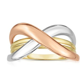 14k Tri Color Gold Shiny Fancy Womens Ring, Size 7