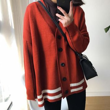 Korean Institute Wind Hit Color Stripe Sweater Cardigans Women Autumn Casual Long Sleeve Loose Sweaters Coats Female Jumpers