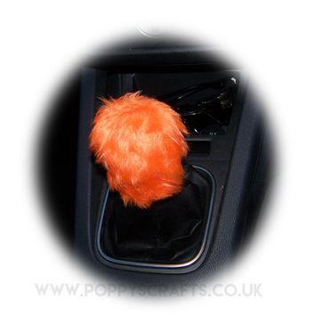 Tangerine Orange fuzzy faux fur Gear knob stick shift cover