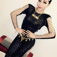 Sexy NEW Black Sequins Long Sleeves Jumpsuit Rhinestone Outfit For Women Female Singer DJ Dance Costume Party Performance Dress