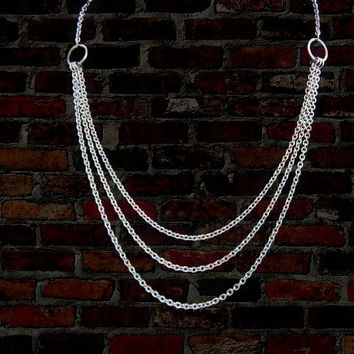 Steel Multi-Strand Necklace / Chain Maille Jewelry / Stainless Steel Jewelry / 11th Anniversary Gift