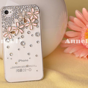 iPhone case, little daisy iPhone 5 case, iPhone 4s case with bring bring crystal, handmade iPhone 4 cases with flowers, gift