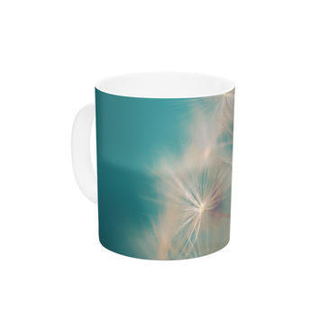 "Sylvia Cook ""Dandelion Seedhead"" White Aqua Ceramic Coffee Mug"
