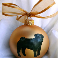 Black Pug Dog Hand Painted Christmas Ornament - Can Be Personalized with Name
