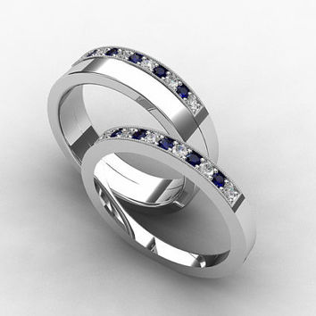 Palldium wedding band set, Blue sapphire, Diamond, mens wedding band, diamond ring, diamond wedding, ring, band, ring set, palladium