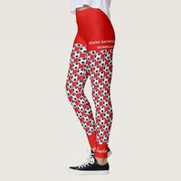 Team Soccer Ball Leggings with Fake Red Shorts