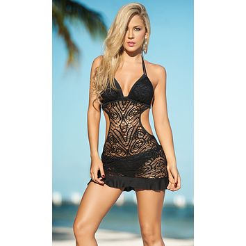 Black Crochet Lace Ruffle Bottom Beach Dress Cover Up