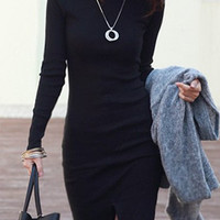 Black Turtleneck Long Sleeve Slit Front Mini Dress