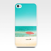 iphone 4 4s iphone 5 case beach scene beach umbrella photography ocean photo art cover cell phone nautical accessories teal red blue summer