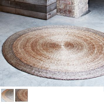 Hand Woven Modern Rustic Round Hemp Rug - Armadillo & Co