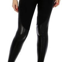 Plus Size Black Leggings with Liquid Leatherette Panels  2X/3X