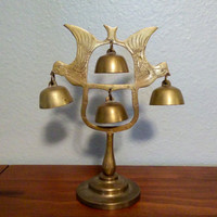 Antique Brass Bird Gong, 4 bell gong, miniature hanging bell gong, pedestal, dinner bell