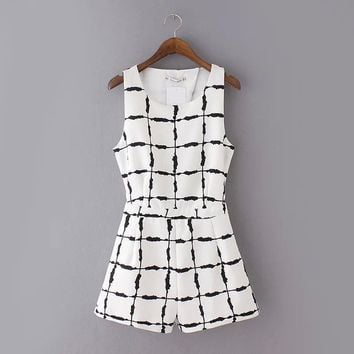 European Fashion 2016 Summer Women Office Ink Plaid Print Jumpsuits Overalls O-Neck Sleeveless Elegant Casual Rompers